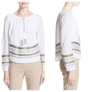 NWT Tory Burch • White Madeline Embroidered Top